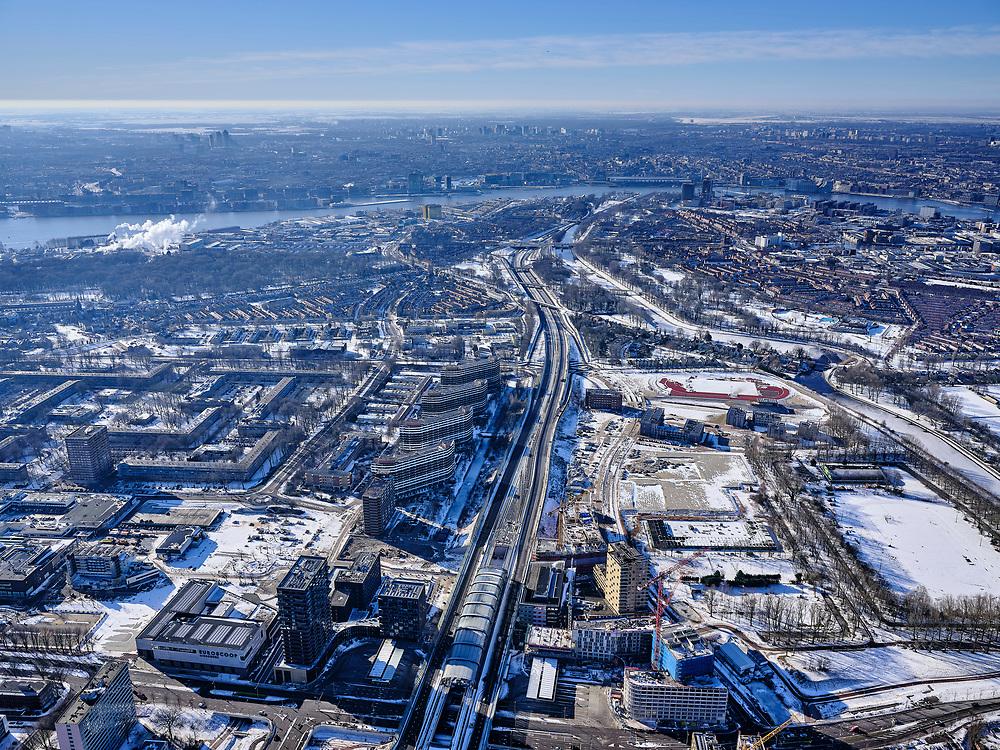 Nederland, Noord-Holland, Amsterdam, 13-02-2021; Amsterdam-Noord, metrostation Noord, eindpunt Noord/Zuidlijn. Metrolijn gezien naar centrum van Amsterdam.<br /> <br /> luchtfoto (toeslag op standaard tarieven);<br /> aerial photo (additional fee required)<br /> copyright © 2021 foto/photo Siebe Swart