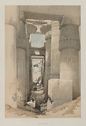 Karnak from Egypt and Nubia, Volume II: Karnak, 1847. Louis Haghe (British, 1806-1885), F.G.Moon, 20 Threadneedle Street, London, after David Roberts (British, 1796-1864). Color lithograph; sheet: 43.5 x 60.2 cm (17 1/8 x 23 11/16 in.); image: 32.6 x 48.9 cm (12 13/16 x 19 1/4 in.)