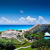 Mayan archaeological site is preserved next to the Sheraton Cancun and Resort Towers