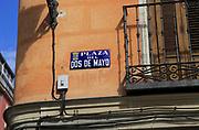Plaza del Dos de Mayo blue traditional street sign, Malasana, Madrid city centre, Spain