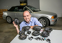 Jason Seaver, co-founder of Bavarian Soundwerks, which develops and manufactures high-end speaker systems for BMW vehicles at the shop in Glendale, CA. June 16, 2014. Photo by David Sprague