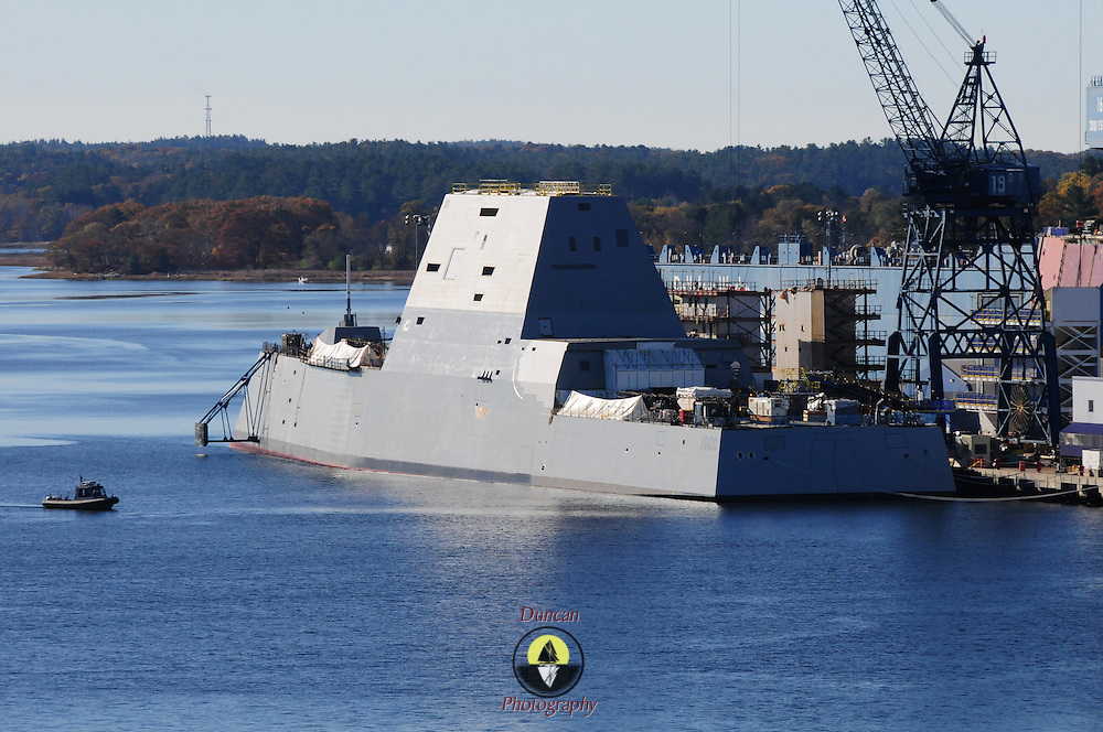 BATH, Maine --  10/29/13 -- USS Zumwalt, under construction at Bath Iron Works will have a christening and formal naming ceremony next spring. The official ceremony of naming was postponed due to the government shutdown.    The ship was put in the water yesterday without any formal ceremony. Photo © Roger S. Duncan 2013 for the Forecaster.