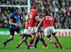 Benjamin Kayser of France is stopped by Evan Olmstead of Canada  - Mandatory byline: Joe Meredith/JMP - 07966386802 - 01/10/2015 - Rugby Union, World Cup - Stadium:MK -Milton Keynes,England - France v Canada - Rugby World Cup 2015