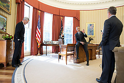 President Barack Obama talks with National Economic Council Director Jeffrey Zients and Chief of Staff Denis McDonough, left, in the Oval Office, Feb. 19, 2015. (Official White House Photo by Pete Souza)<br /> <br /> This official White House photograph is being made available only for publication by news organizations and/or for personal use printing by the subject(s) of the photograph. The photograph may not be manipulated in any way and may not be used in commercial or political materials, advertisements, emails, products, promotions that in any way suggests approval or endorsement of the President, the First Family, or the White House.