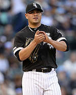 CHICAGO - MAY 30:  Manny Banuekos #58 of the Chicago White Sox looks on against the Cleveland Indians on May 30, 2019 at Guaranteed Rate Field in Chicago, Illinois.  (Photo by Ron Vesely)  Subject:  Manny Banuelos