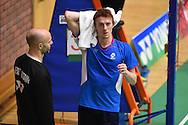 Kieran MERRILEESof Scotland looks on during his match against Tzu Wei WANG. Wales international badminton championships 2014 at the Welsh institute of Sport, Sophia Gardens in Cardiff, South Wales on Friday 28th November 2014<br /> pic by Andrew Orchard, Andrew Orchard sports photography.