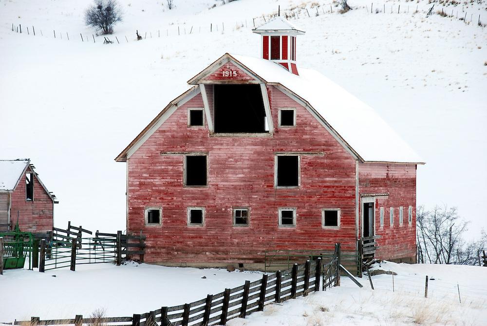 Barn in winter on a ranch in Northeast Oregon.