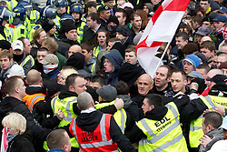 © under license to London News Pictures. 05/02/2011: Thousands of English Defence League members and supporters march through Luton Town Centre to demonstrate against Sharia Law. 2000 police are in the town to keep the peace. Joel Goodman/London News Pictures