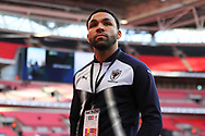 AFC Wimbledon striker Andy Barcham (17) arriving at Wembley during the The FA Cup 3rd round match between Tottenham Hotspur and AFC Wimbledon at Wembley Stadium, London, England on 7 January 2018. Photo by Matthew Redman.