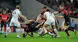 Saracens winger Chris Wyles is upended in a tackle - Photo mandatory by-line: Patrick Khachfe/JMP - Tel: 07966 386802 - 18/10/2013 - SPORT - RUGBY UNION - Wembley Stadium, London - Saracens v Toulouse - Heineken Cup Round 2.