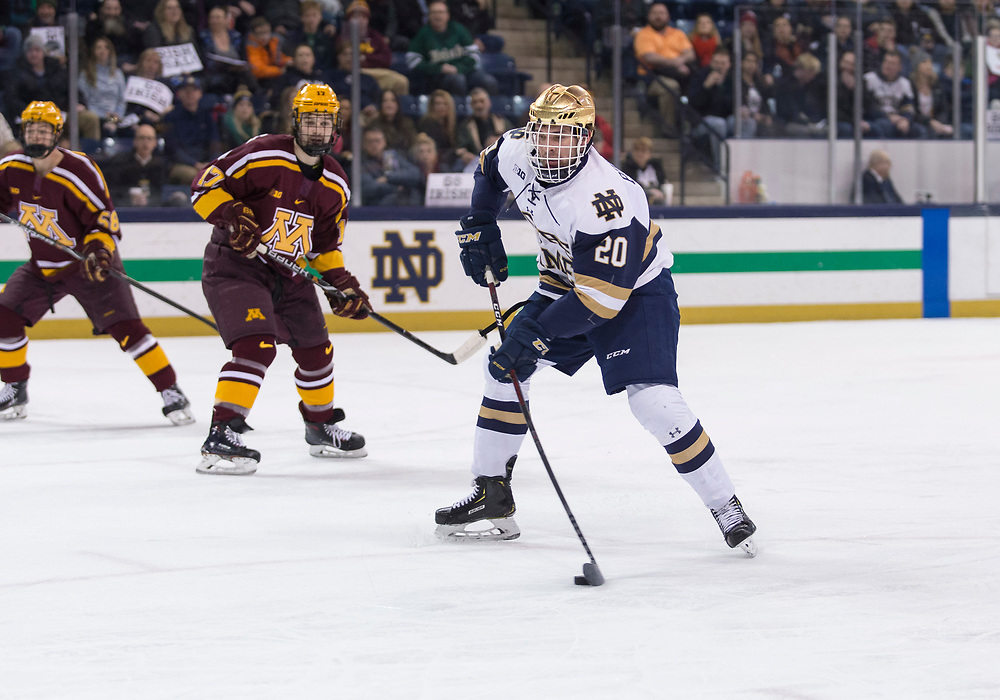 January 11, 2019:  Notre Dame forward Jake Pivonka (20) shoots the puck during NCAA Hockey game action between the Minnesota Golden Gophers and the Notre Dame Fighting Irish at Compton Family Ice Arena in South Bend, Indiana.  Minnesota defeated Notre Dame 5-1.  John Mersits/CSM