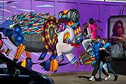 Graffiti wall on construction hoarding in Great Eastern Street East London.