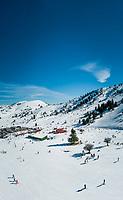 Aerial view of ski resort at mountain range of Erymanthos, Greece