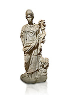 Roman statue of Hygieia. Marble. Perge. 2nd century AD. Inv no .Antalya Archaeology Museum; Turkey. Against a white background.<br /> <br />  Hygieia was one of the Aeclepiadae; the sons and daughters of the god of medicine; Asclepius; and the goddess of healing; Epione. She was the goddess of health; cleanliness and hygiene. .<br /> <br /> If you prefer to buy from our ALAMY STOCK LIBRARY page at https://www.alamy.com/portfolio/paul-williams-funkystock/greco-roman-sculptures.html . Type -    Antalya     - into LOWER SEARCH WITHIN GALLERY box - Refine search by adding a subject, place, background colour, museum etc.<br /> <br /> Visit our ROMAN WORLD PHOTO COLLECTIONS for more photos to download or buy as wall art prints https://funkystock.photoshelter.com/gallery-collection/The-Romans-Art-Artefacts-Antiquities-Historic-Sites-Pictures-Images/C0000r2uLJJo9_s0