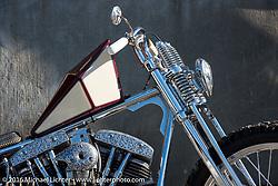 Hiromichi Nishiyama's Cycle West heavily engraved rigid Harley-Davidson Shovelhead after the Mooneyes Yokohama Hot Rod & Custom Show. Japan. December 8, 2016.  Photography ©2016 Michael Lichter.