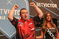 Brendan Dolan takes to the stage during the First Round of the BetVictor World Matchplay Darts at the Empress Ballroom, Blackpool, United Kingdom on 19 July 2015. Photo by Shane Healey.