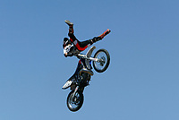 """Jul 01, 2003; Anaheim, California, USA; Moto X star athlete RONNIE RENNER catches air doing the splits at Disney's California Adventure """"X Games Experience"""".  <br />Mandatory Credit: Photo by Shelly Castellano/Icon SMI<br />(©) Copyright 2003 by Shelly Castellano"""