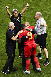 July 6, 2018 - Kazan, RUSSIA - Belgium's Romelu Lukaku, Belgium's head coach Roberto Martinez and physical therapist Lieven Maesschalck celebrate after winning a soccer game between Belgian national soccer team the Red Devils and Brazil in Kazan, Russia, Friday 06 July 2018, the quarter-finals of the 2018 FIFA World Cup. BELGA PHOTO LAURIE DIEFFEMBACQ (Credit Image: © Laurie Dieffembacq/Belga via ZUMA Press)