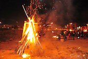 Israel, Haifa, Neve Shaanan, The bonfire during the lag b'omer celebrations Lag B'Omer is a day for bonfire celebrations.