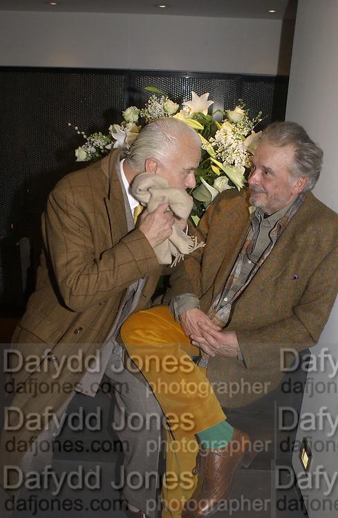 Manolo Blahnik and David Bailey. Dom Perignon collection, 'Platinum' by David Bailey. Hamiltons, 19 November 2002. .© Copyright Photograph by Dafydd Jones 66 Stockwell Park Rd. London SW9 0DA Tel 020 7733 0108 www.dafjones.com
