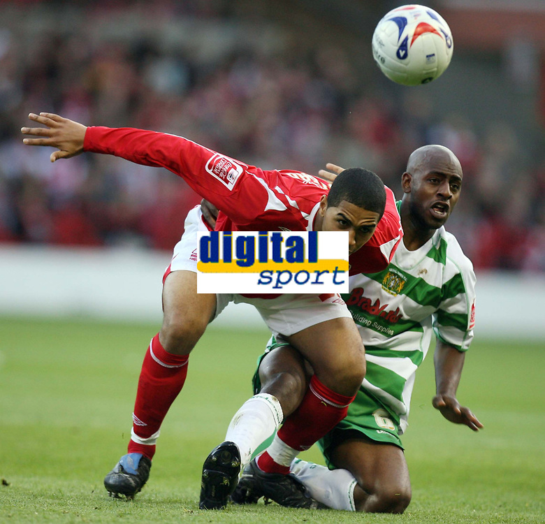 Photo: Rich Eaton.<br /> <br /> Nottingham Forest v Yeovil Town. Coca Cola League 1. Play off Semi Final 2nd Leg. 18/05/2007. Forests Lewis McGugan left is tackled by Terrell Forbes of Yeovil