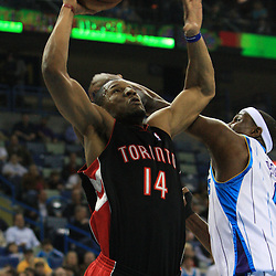 06 February 2009:  Toronto Raptors guard Joey Graham (14) shoots as New Orleans Hornets forward James Posey (41) defends the play during a NBA game between the New Orleans Hornets and the Toronto Raptors at the New Orleans Arena in New Orleans, LA.