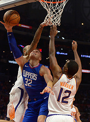 October 21, 2017 - Los Angeles, California, U.S. - Los Angeles Clippers forward Blake Griffin (32) drives to the basket against Phoenix Suns' TJ Warren (12) in the second half during an NBA basketball game at the Staples Center on Saturday, Oct 21, 2017 in Los Angeles. .(Photo by Keith Birmingham, Pasadena Star-News/SCNG) (Credit Image: © San Gabriel Valley Tribune via ZUMA Wire)
