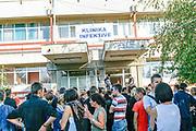 Family members of dozens of Albanian students who are alleged to have been poisoned at an elementary school in Fushe Kosove/Kosovo Polje are seen at the infective clinic near University Clinic Hospital in capital Prishtina on October 1st 2009. (Photo/ Vudi Xhymshiti)