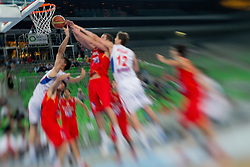 during basketball match between National teams of Serbia and Spain in for third place match of U20 Men European Championship Slovenia 2012, on July 22, 2012 in SRC Stozice, Ljubljana, Slovenia. Spain defeated Serbia 67:66. (Photo by Matic Klansek Velej / Sportida.com)