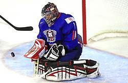 Goalkeeper of Slovenia Andrej Hocevar at ice-hockey game Slovenia vs Slovakia at Relegation  Round (group G) of IIHF WC 2008 in Halifax, on May 09, 2008 in Metro Center, Halifax, Nova Scotia, Canada. Slovakia won 5:1. (Photo by Vid Ponikvar / Sportal Images)