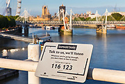 Samaritans helpline on Waterloo Bridge over the River Thames on 15th June 2020 in London, United Kingdom. Teams of volunteers are to patrol Waterloo Bridge, trying to intercept people who might be considering suicide by jumping into the Thames.