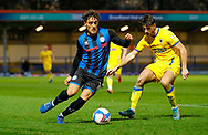 Rochdale defender Haydon Roberts (15)  during the EFL Sky Bet League 1 match between Rochdale and AFC Wimbledon at the Crown Oil Arena, Rochdale, England on 21 November 2020.