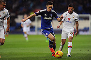 Tom Lawrence of Cardiff city (c) takes on M K Don's George Baldock (r). Skybet football league championship match, Cardiff city v MK Dons at the Cardiff city stadium in Cardiff, South Wales on Saturday 6th February 2016.<br /> pic by Carl Robertson, Andrew Orchard sports photography.