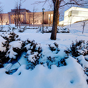 Nelson Atkins Museum of Art, original building and Bloch addition at right, sunset in the snow, Sunday, February 9, 2014.