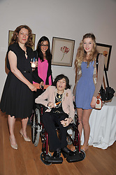Left to right, SAM McEWEN, HEATHER DAVIS BROOKE MASON and ROMANA McEWEN (In wheelchair) at a private view of work by the late Rory McEwen - The Colours of Reality, held at the Shirley Sherwood Gallery, Kew Gardens, London on 20th May 2013.