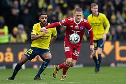 Marcel Rømer (Lyngby BK) og Anis Slimane (Brøndby IF) under kampen i 3F Superligaen mellem Brøndby IF og Lyngby Boldklub den 1. marts 2020 på Brøndby Stadion (Foto: Claus Birch).