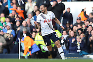 Nacer Chadli of Tottenham Hotspur celebrates after scoring his sides 1st goal of the game to make at 1-1. Barclays Premier league match, Tottenham Hotspur v Swansea city at White Hart Lane in London on Sunday 28th February 2016.<br /> pic by John Patrick Fletcher, Andrew Orchard sports photography.