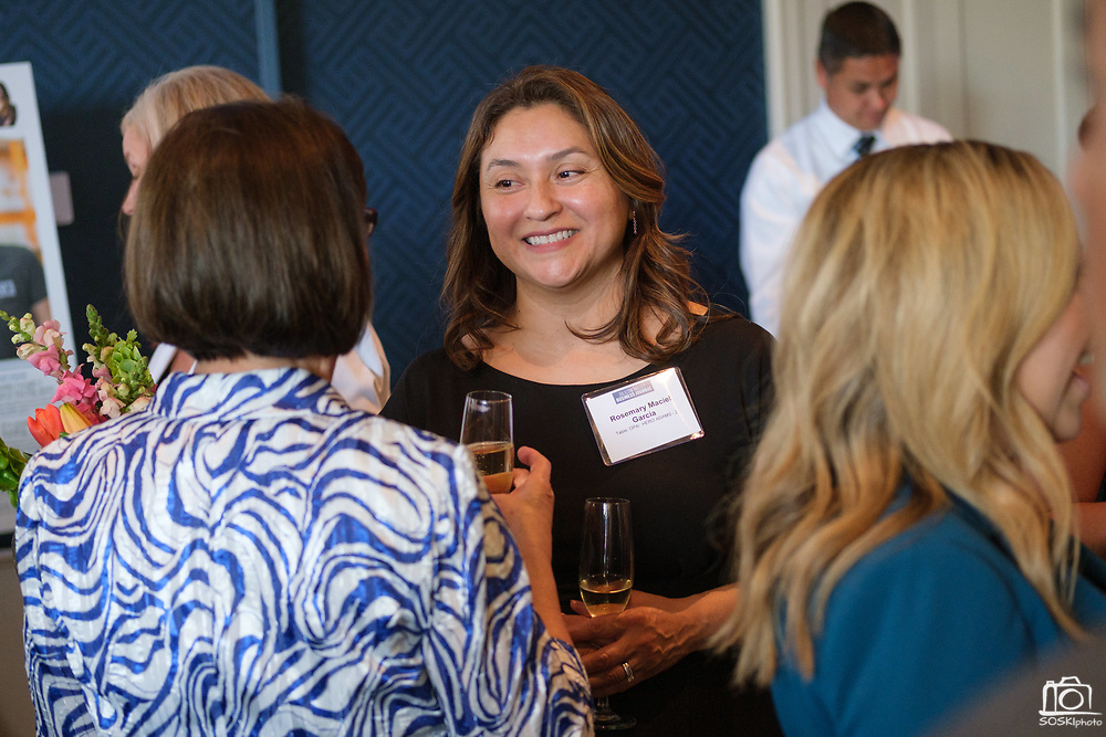 Rosemary Maciel Garcia of Opa! talks with others during the Silicon Valley Business Journal's Women of Influence event at the Fairmont San Jose in San Jose, California, on May 16, 2019. (Stan Olszewski for Silicon Valley Business Journal)