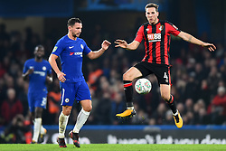December 20, 2017 - London, England, United Kingdom - Bournemouth's Dan Gosling controls the ball from Chelsea Midfielder Danny Drinkwater during the Carabao Cup Quarter - Final match between Chelsea and AFC Bournemouth at Stamford Bridge, London, England on 20 Dec 2017. (Credit Image: © Kieran Galvin/NurPhoto via ZUMA Press)