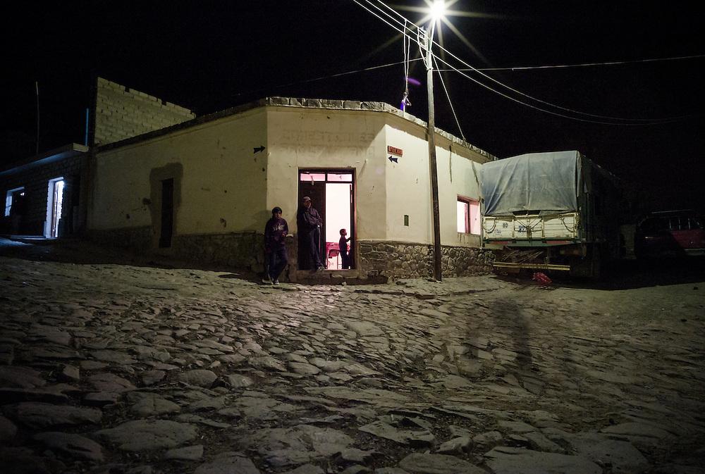 Night street scene, Northern Argentina.