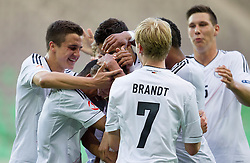 Players of Germany celebrate during the UEFA European Under-17 Championship Group A match between Iceland and Germany on May 7, 2012 in SRC Stozice, Ljubljana, Slovenia. Germany defeated Iceland 1-0. (Photo by Vid Ponikvar / Sportida.com)
