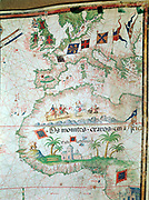 Portuguese map of 1558 by Bastian Lopez showing Europe, British Isles and part of Africa. British Museum.