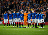 Football - 2019 / 2020 UEFA Europa League - Group G: Rangers vs. Feyenoord<br /> <br /> Rangers players during the minute silence for Fernando Ricksen, at Ibrox.<br /> <br /> COLORSPORT/BRUCE WHITE