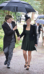Edward and Nina Tryon at the wedding of Princess Florence von Preussen second daughter of Prince Nicholas von Preussen to the Hon.James Tollemache youngest son of the 5th Lord Tollemache held at the Church of St.Michael & All Angels, East Coker, Somerset on 10th May 2014.