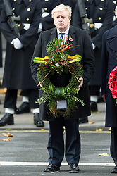© Licensed to London News Pictures. 12/11/2017. London, UK. Secretary of State for Foreign and Commonwealth Affairs BORIS JOHNSON attends a Remembrance Day Ceremony at the Cenotaph war memorial in London, United Kingdom, on November 13, 2016 . Thousands of people honour the war dead by gathering at the iconic memorial to lay wreaths and observe two minutes silence. Photo credit: Ray Tang/LNP
