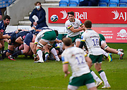 London Irish Nick Phipps passes the ball from a scrum during a Gallagher Premiership Round 14 Rugby Union match, Sunday, Mar 21, 2021, in Eccles, United Kingdom. (Steve Flynn/Image of Sport)