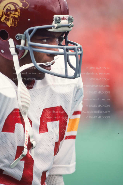 CORVALLIS, OR -  OCTOBER 3:  Marcus Allen #33 of the USC Trojans warms up before an NCAA football game against the Oregon State University Beavers played on October 3, 1981 at Parker Stadium in Corvallis, Oregon. (Photo by David Madison/Getty Images) *** Local Caption *** Marcus Allen