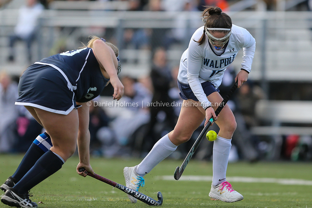 (11/10/18, TAUNTON, MA) Walpole's Sydney Scales  takes control of the ball during the D1 South field hockey sectional final against Somerset Berkley at Taunton High School on Saturday. [Daily News and Wicked Local Photo/Dan Holmes]