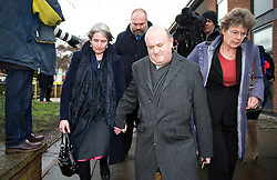 © Licensed to London News Pictures. 02/03/2016. Ampthill, UK. ALISON and RAY JOHNSON (centre) leave a pre-inquest review into the death of their son Conservative party activist Elliott Johnson in Ampthill, Bedfordshire. Mr Johnson was found dead on a railway line in Bedfordshire a few weeks after he raised concerns about the way he had been treated in the Conservative youth wing. Photo credit: Peter Macdiarmid/LNP
