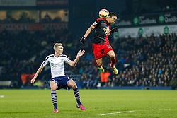 Jefferson Montero of Swansea City is challenged by Darren Fletcher of West Brom - Photo mandatory by-line: Rogan Thomson/JMP - 07966 386802 - 11/02/2015 - SPORT - FOOTBALL - West Bromwich, England - The Hawthorns - West Bromwich Albion v Swansea City - Barclays Premier League.